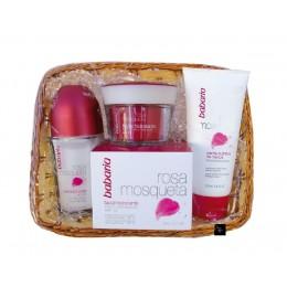 Babaria Rosa Mosqueta cesta regalo (crema facial hidrat+crema manos+deo rollon)