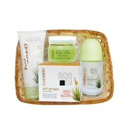 Babaria Aloe cesta regalo (crema facial antiarrugas+crema manos+deo rollon)