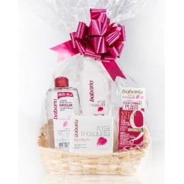Babaria Rosa Mosqueta cesta celofán (crema antiarr+agua micelar+leche+contorno)