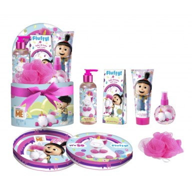 Fluffy cesta edt 120 ml + gel 200 ml + loción 165 ml. + esponja + sales