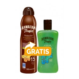 Hawaiian Tropic aceite bruma Argán F-15 177 ml + aftersun Aloe Vera gel 200 ml