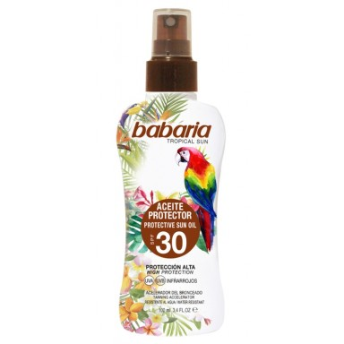 Babaria bronceador 100 ml aceite tropical spray F-30