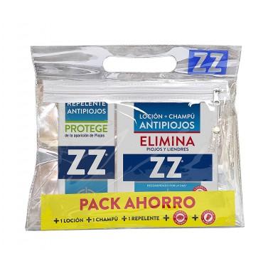 zz locion 100 ml. pack (champú + peine + gorros + loción + repelente)