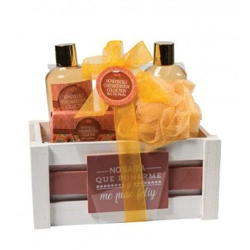 Perfumanía set baño Madreselva cesta de madera (5 piezas) ref.MK817085