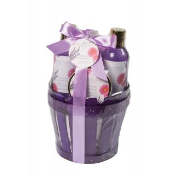 Perfumanía set baño Lavanda Francesa cesta de bambú (5 piezas) ref.MK817207