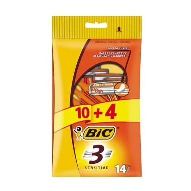 Bic Sensitive Maquinilla de Afeitar Desechable 10 + 4 Uds