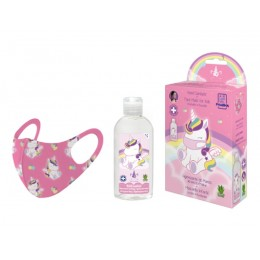 Eau my unicorn pack gel higienizante 100ml + mascarilla decorada unicornios
