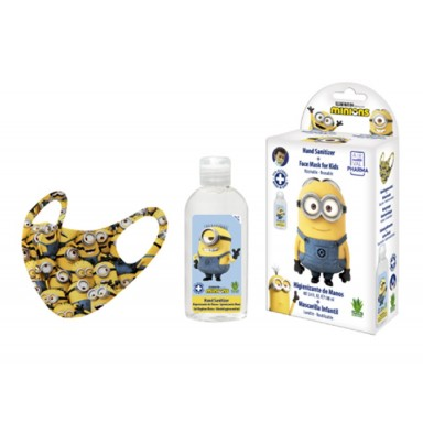 Eau my Minions pack gel higienizante 100 ml + mascarilla decorada lavable