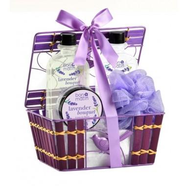 Cesta Bambú Lavender (gel 240 ml + leche 240 ml + crema manos + esponja)